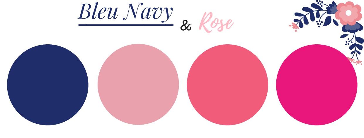 blue navy & rose